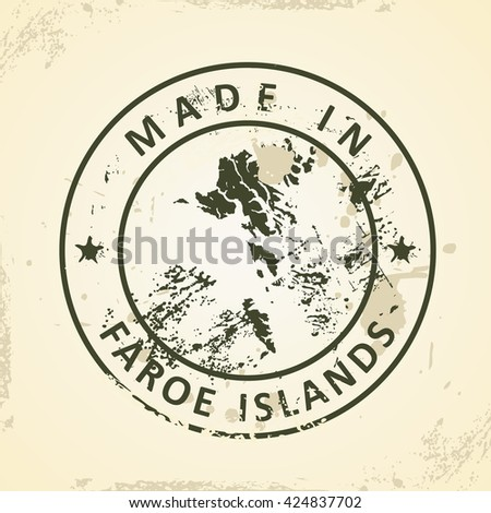 Grunge stamp with map of Faroe Islands - vector illustration - stock vector
