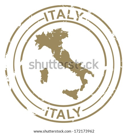 Grunge Stamp with Map of Italy - stock vector