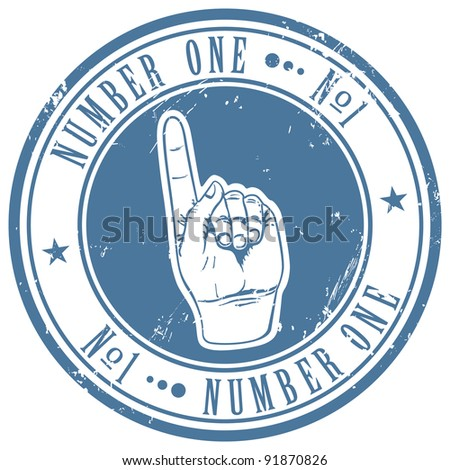 """Grunge stamp with text """"number one"""" written inside - stock vector"""