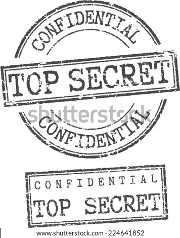 Grunge stamps 'Confidential top secret' - stock vector
