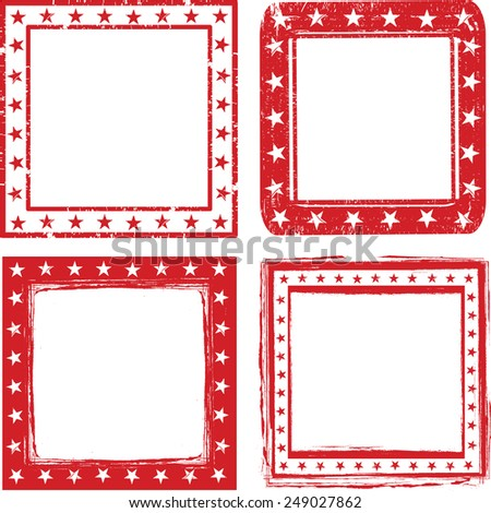 Grunge Stamps with stars. Vector Illustration - stock vector