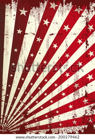 Grunge star and red sunbeams background. A vintage dirty and torn background for a poster - stock vector