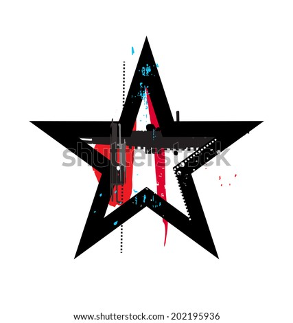 Grunge star icon sign or symbol - stock vector