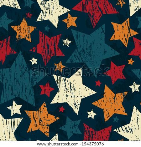 grunge star seamless pattern - stock vector