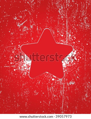 grunge star sign - stock vector