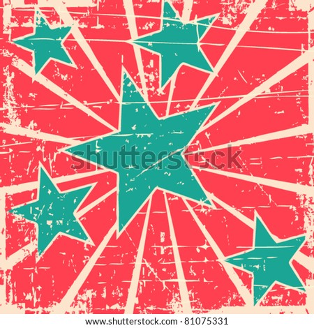 Grunge stars vector background - stock vector
