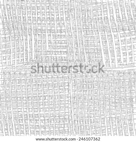 Grunge striped and checkered linen cloth seamless pattern in white and grey colors - stock vector