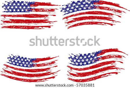 Grunge stripes  and stars - stock vector