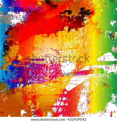 Grunge style abstract color splash background - stock vector