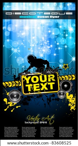 Grunge Style Alternative Disco Flyer for you Music night events with disk jockey shape and a waterfall of ray lights in the background - stock vector
