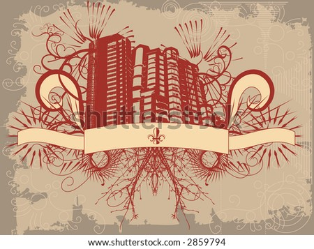 Grunge style building with ornate detail - stock vector