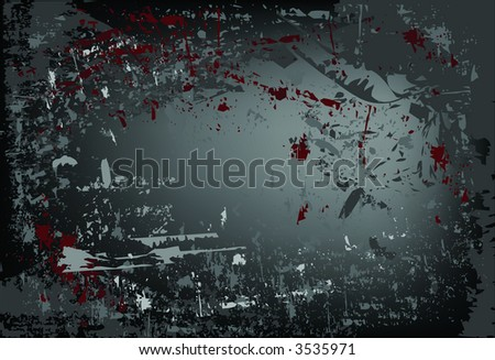 Grunge style dark black background in vector format with dark red accents. - stock vector