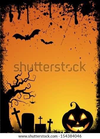 Grunge style Halloween background with spooky pumpkin and drips - stock vector