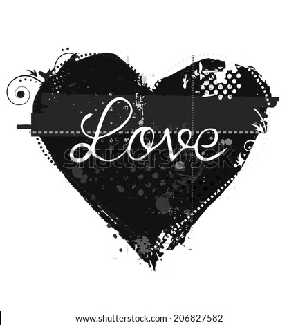 Grunge style heart symbol for love - stock vector