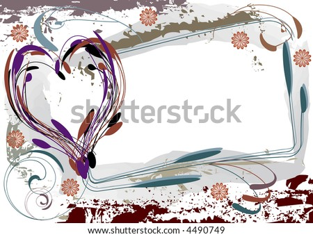 Grunge-style heart with frame for copy -- vector illustration. - stock vector