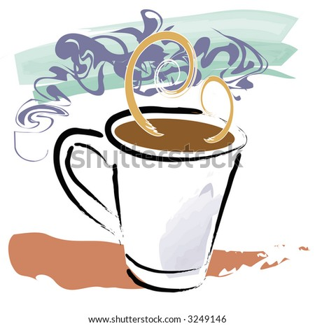 Grunge style illustration of full coffee cup with steam swirls and elements on separate vector layers. - stock vector