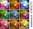 grunge style mosaic background set - stock vector