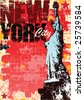Grunge style New york and statue of liberty layout in vector format - stock vector