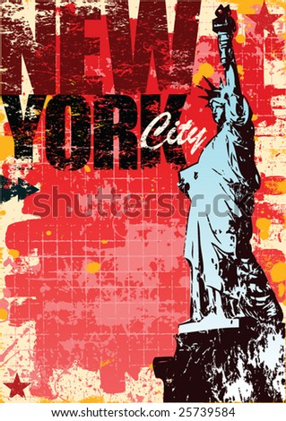 Grunge style New york and statue of liberty layout in vector format