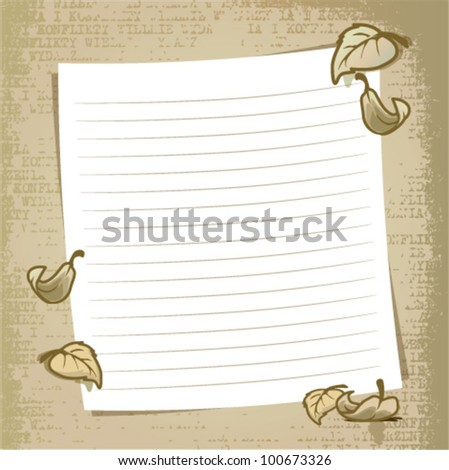 Grunge style note book background - stock vector
