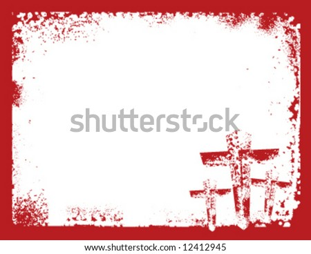 Grunge style vector Christian cross postcard. Measures 4.25x5.5 - stock vector