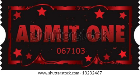 Grunge style vector movie ticket - stock vector