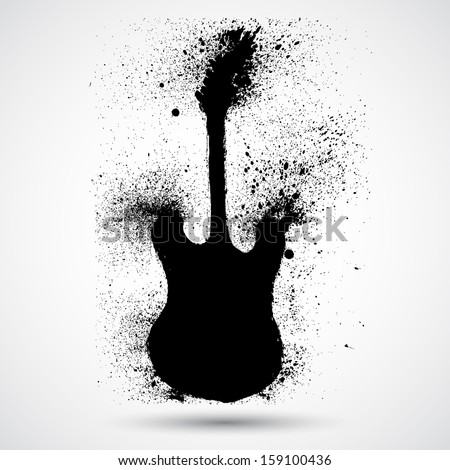 Grunge styled guitar - stock vector