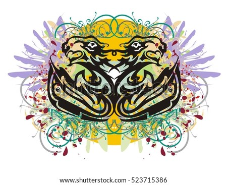 Grunge stylized fishes and lions heads. Two twirled fishes whose tails are formed by the aggressive lion's and eagle heads, with colorful splashes against the background of an orange circle