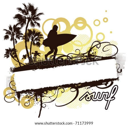 grunge summer banner with waves palms and hibiscus - stock vector