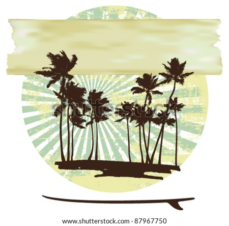 grunge summer circle with palms and paper banner - stock vector