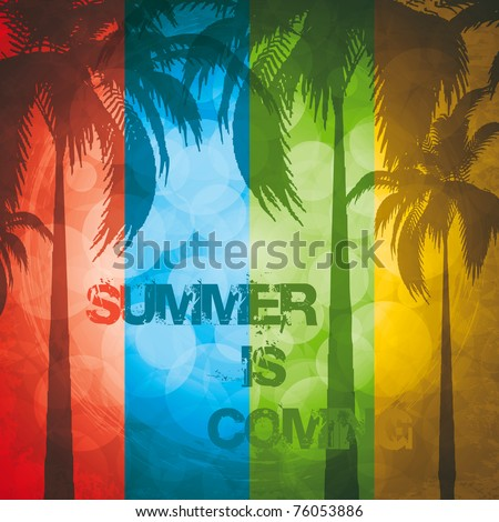 Grunge summer holiday background.Tropical banner - stock vector