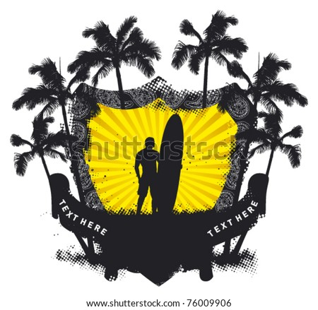 grunge summer shield with surfer and palms - stock vector