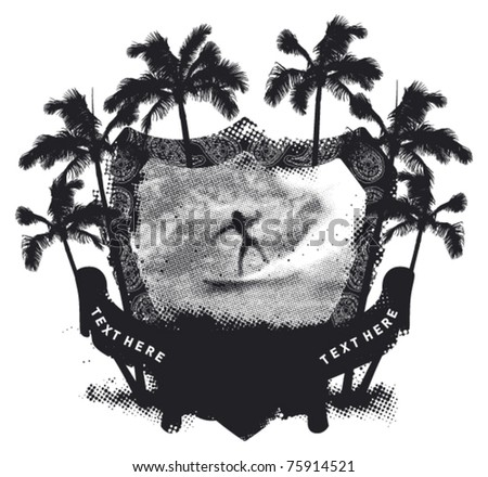 grunge summer shield with surfer riding a wave - stock vector