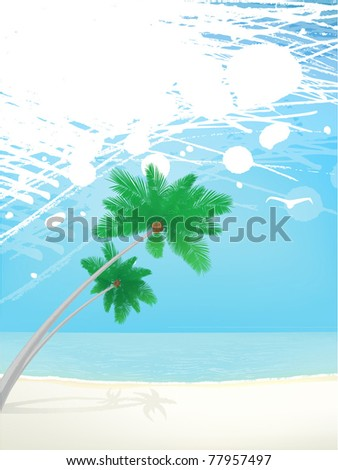 grunge summer vector background with splash palm trees and beach - stock vector