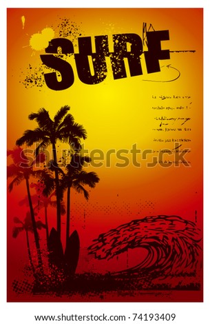 grunge surf poster with big wave and sunset - stock vector