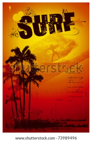 grunge surf poster with palms and sunset - stock vector