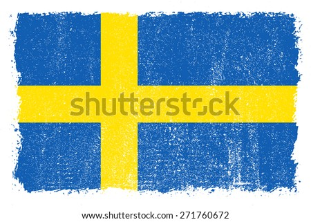 Grunge Sweden flag.Swedish flag with grunge texture.Vector template. - stock vector
