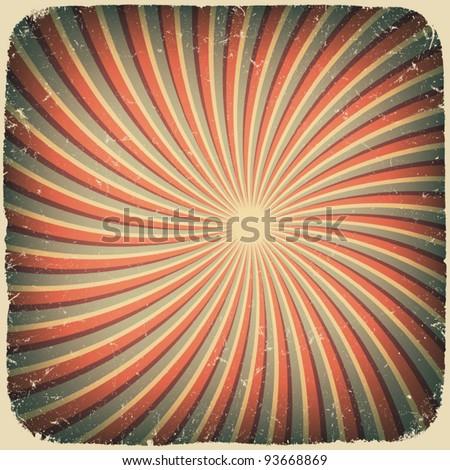 Grunge swirl rays retro background. Vector illustration, EPS10 - stock vector