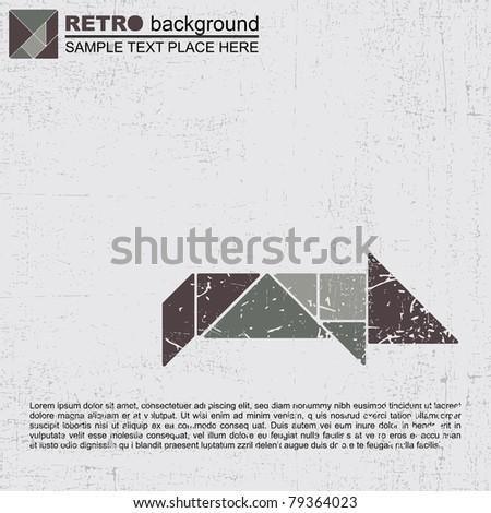 Grunge tangram animal - stock vector