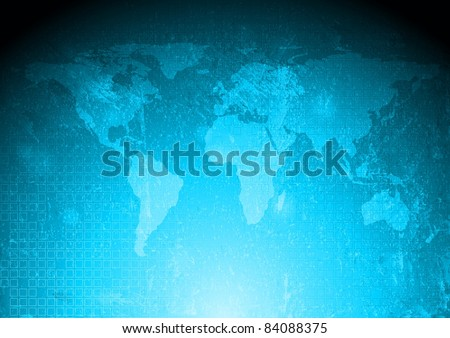 Grunge tech background with world map. Eps 10 - stock vector