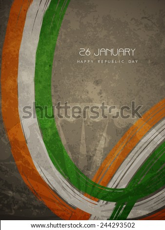 Grunge texture Indian flag theme background design. - stock vector