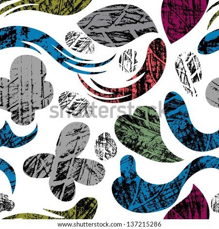 grunge tire print on ornament seamless pattern - stock vector