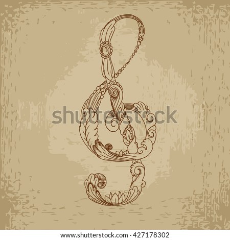 Grunge treble clef. Hand drawn vector stock illustration - stock vector