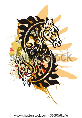 Grunge tribal horse symbol. Double black horse head symbol - splashes in a woman's face with the head and a wing of an eagle in tribal style  - stock vector