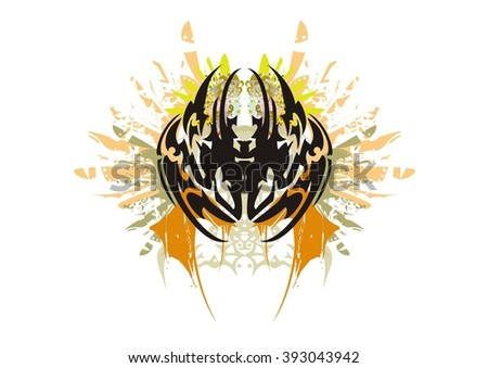 Grunge tribal spider. Dangerous spider against the cutting eagle wings with the ornate female heads - stock vector