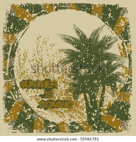 Grunge tropical background.Beach illustration - stock vector