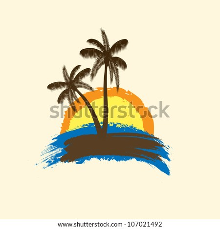 Grunge tropical background with palms and sun. vector illustration - stock vector