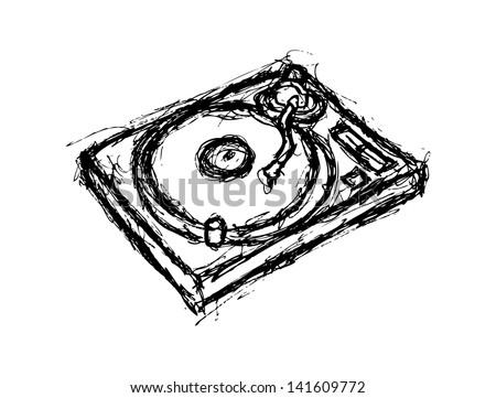 grunge turntable - stock vector