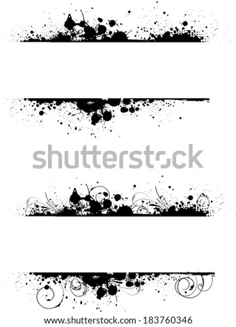 Grunge two banners frame in black color with floral swirl elements - stock vector