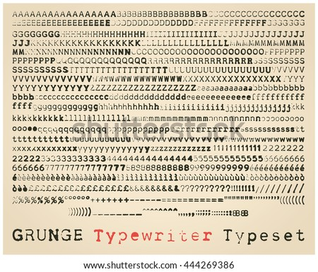 Grunge typewriter font. many alternatives for each glyph - stock vector